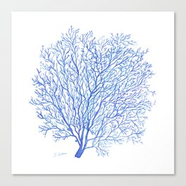 Navy Blue Coral Sea Fan #2 Canvas Print