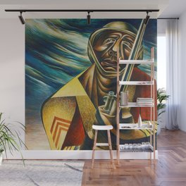 African-American 1944 Classical Masterpiece 'Black Soldier' by Charles White Wall Mural