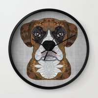 boxer Wall Clocks featuring Boxer by ArtLovePassion