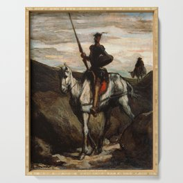 Don Quixote In The Mountains by Honore Daumier Serving Tray