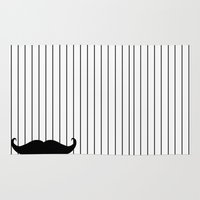 moustache Area & Throw Rugs featuring Moustache by PintoQuiff