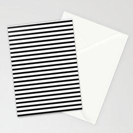 White Black Stripe Minimalist Stationery Cards