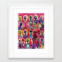 aliens Framed Art Prints featuring aliens  by Verismaya