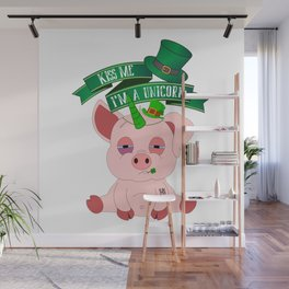 St Patrick's Day Kiss Me I'm A Unicorn Pig Wall Mural
