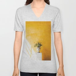 Seville XIII [ Andalusia, Spain ] Flowerpot on yellow background⎪Colorful travel photography Poster Unisex V-Neck