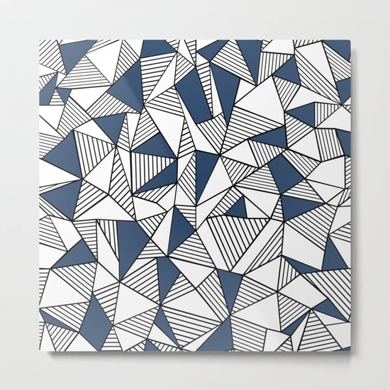 Abstraction Lines with Navy Blocks Metal Print