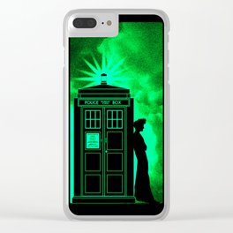 Tardis Light Green Shadow Clear iPhone Case