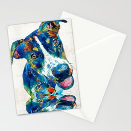 Colorful Dog Art - Happy Go Lucky - By Sharon Cummings Stationery Cards