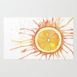 Splash Orange Slice Watercolor Painting Rug