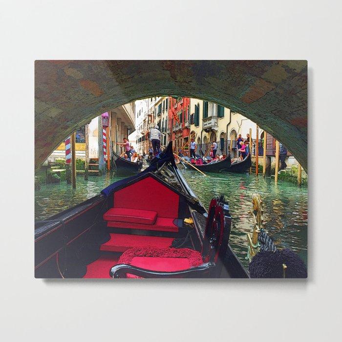 Venetian Gondola Passing Under a Bridge Metal Print