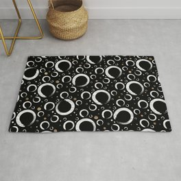 Enso Circle - Zen pattern on black with gold Rug