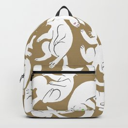 Tumbling White Cats Brown Backpack