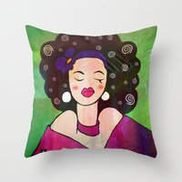 geisha Throw Pillows featuring GEISHA by SAMHAIN