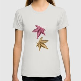 Red and Gold Leaves - Coloured pencil drawing T-shirt