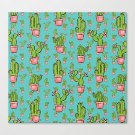 cactus garden pattern repeat Canvas Print