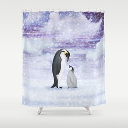 Emperor Penguins In The Snow Shower Curtain