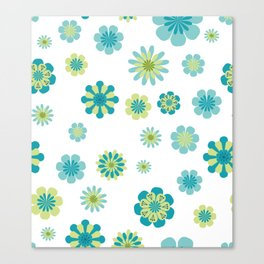 Floral Pattern in shades of green Canvas Print