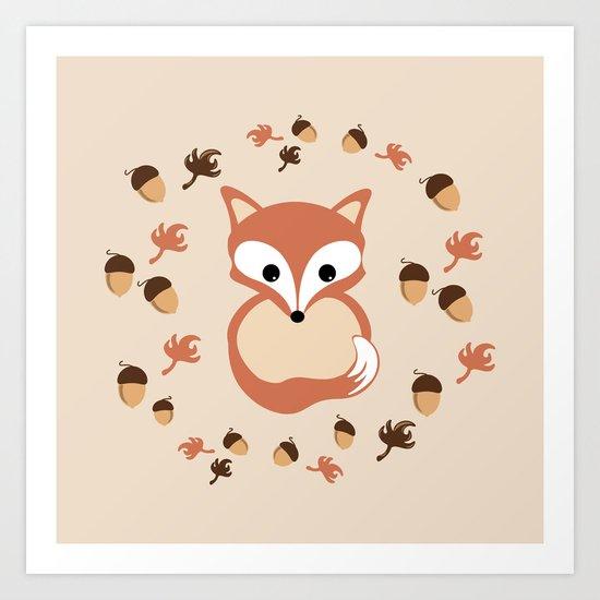 Fox in autumn Art Print