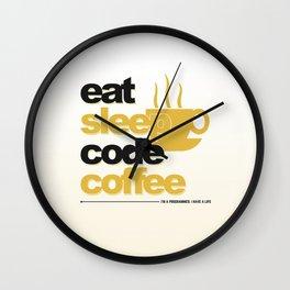Programmer - eat sleep code coffee Wall Clock