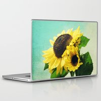 sunflowers Laptop & iPad Skins featuring sunflowers by Sylvia Cook Photography
