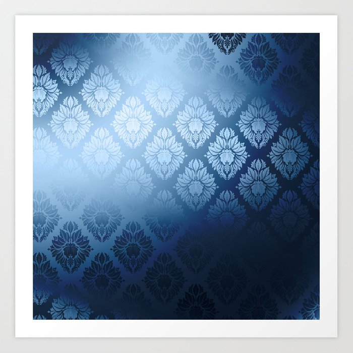 """Navy blue Damask Pattern"" Kunstdrucke"