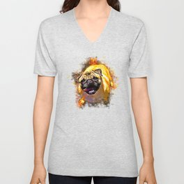 hungry pug dog splatter watercolor Unisex V-Neck