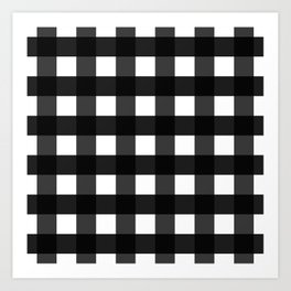Contemporary Black & White Gingham Pattern Art Print