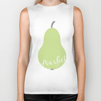 """onesie Biker Tanks featuring Pear Green Onesie """"Pearfect"""" by Spilling Beans"""