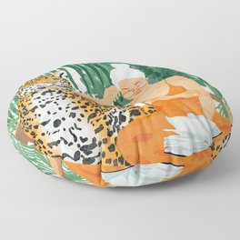 Jungle Vacay #painting #illustration Floor Pillow
