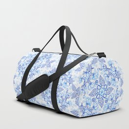 Peonies and Paisley in Blue and White Duffle Bag