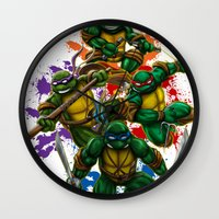 teenage mutant ninja turtles Wall Clocks featuring Teenage Mutant Ninja Turtles by Magik Tees