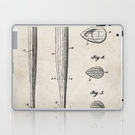 Baseball Bat Patent - Baseball Art - Antique Laptop & iPad Skin