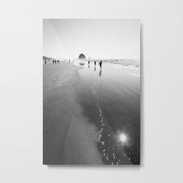 Running near Haystack Rock - Black and White Fine Art Print Metal Print