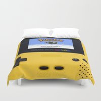 gameboy Duvet Covers featuring The Yellow Gameboy by bimorecreative