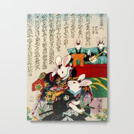 Weird Japanese Rabbits Metal Print