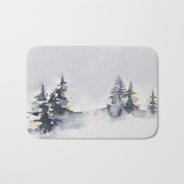 Watercolor Pine Bath Mat