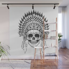 Skull in indian headwear with feather in monochrome style. Art print Wall Mural