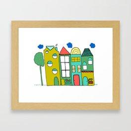 Colorful Buildings Art Print by Emma Freeman Designs Framed Art Print