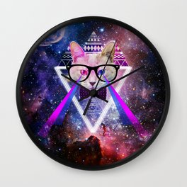 Galaxy cat Wall Clock