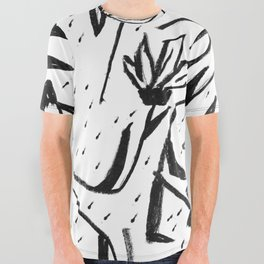 Black and White Echinacea Wildflower Drawing All Over Graphic Tee