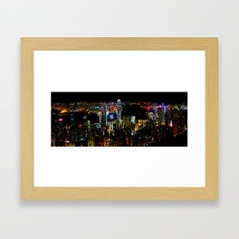 Hong Kong Colorful Black Night Framed Art Print