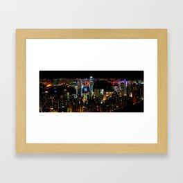 Hong Kong City Skyine Black Night Framed Art Print