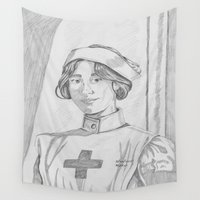 nurse Wall Tapestries featuring Nurse pencil sketch by theedwardiangirl