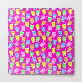 Boba tea pattern on pin Metal Print