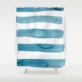 Aqua Stripes Abstract Modern Art Shower Curtain