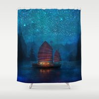 orange Shower Curtains featuring Our Secret Harbor by Aimee Stewart