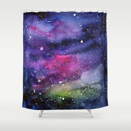 Galaxy Watercolor Night Sky Painting Nebula Art Shower Curtain