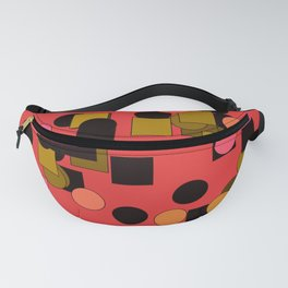 Squares and circles on a brick-colored background Fanny Pack