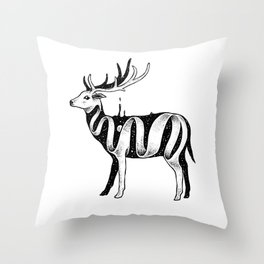 Lost in Its Own Existence (Deer) Throw Pillow