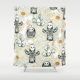 Skeleton Cacti Shower Curtain
